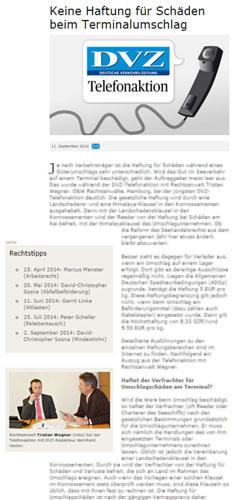 DVZ Telefonatkion Umschlag mit Dr. Wegner